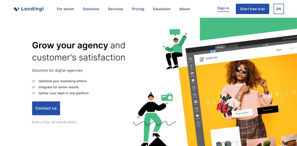 landingi is a white label marketing tool for landing pages